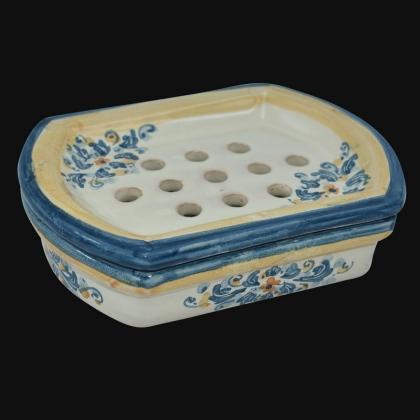 Soap dish 14x4 blue/orange Italian Pottery of Sicily, Caltagirone