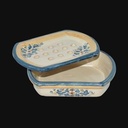 Portasapone 14x4 s. d'arte blu/arancio in Ceramica Artistica di Caltagirone