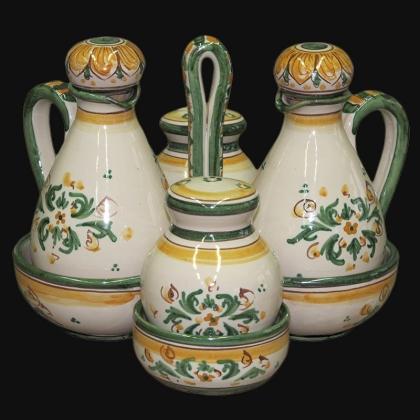 Set menage h 17 s. d'arte verde/arancio. Oliera in Ceramica Artistica di Caltagirone