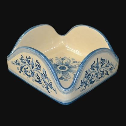 Portatovaglioli quadrato 20x20 s. d'arte mono blu in Ceramica Artistica di Caltagirone
