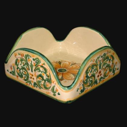 Portatovaglioli quadrato 20x20 s. d'arte verde e arancio in Ceramica Artistica di Caltagirone