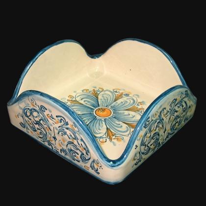 Portatovaglioli quadrato 20x20 s. d'arte blu e arancio in Ceramica Artistica di Caltagirone