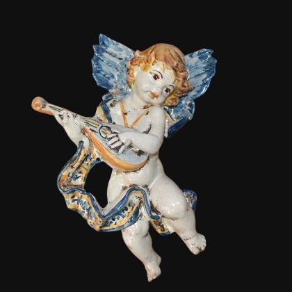 Angelo musico h 20 blu/arancio mandolino in Ceramica Artistica di Caltagirone