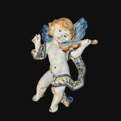 Music angel h 20 blue/orange violin - Italian Pottery of Sicily, Caltagirone
