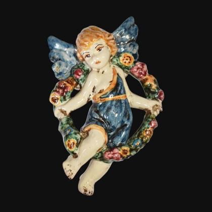 Angelo 4 stagioni primavera 13x16 blu/arancio in Ceramica Artistica di Caltagirone
