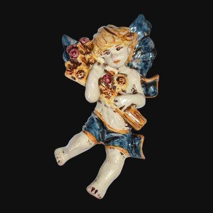 Angelo 4 stagioni estate 13x16 blu/arancio in Ceramica Artistica di Caltagirone