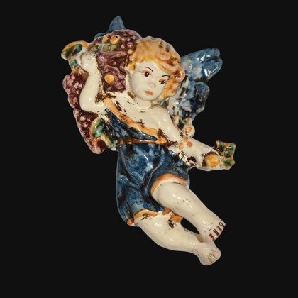 Angelo 4 stagioni autunno 13x16 blu/arancio in Ceramica Artistica di Caltagirone