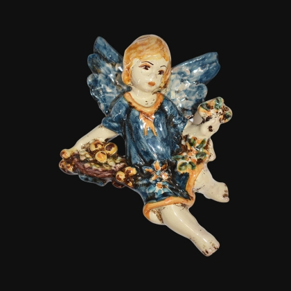 Angelo 4 stagioni inverno 13x16 blu/arancio in Ceramica Artistica di Caltagirone