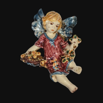 Angel Winter in blue and bordeaux - Italian Pottery of Sicily, Caltagirone
