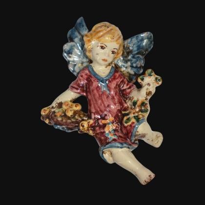 Angelo 4 stagioni inverno 13x16 blu/bordeaux in Ceramica Artistica di Caltagirone