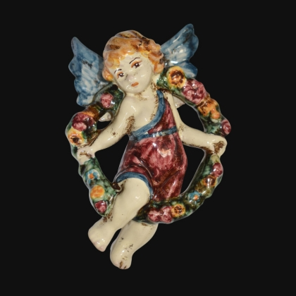 Angel Spring in blue and bordeaux - Italian Pottery of Sicily, Caltagirone