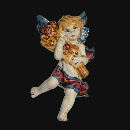 Angel Summer in blue and bordeaux - Italian Pottery of Sicily, Caltagirone