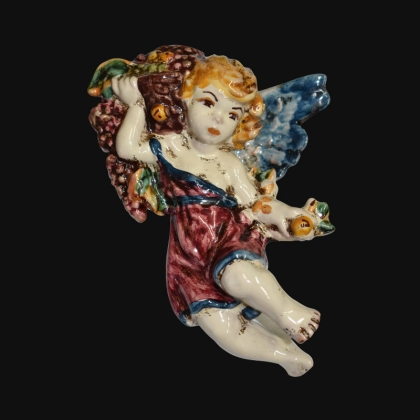 Angel Autumn in blue and bordeaux - Italian Pottery of Sicily, Caltagirone