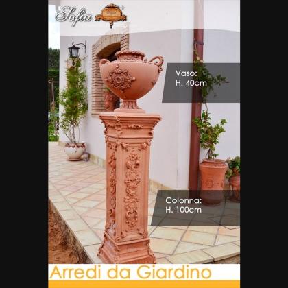 Colonna con Vaso in terracotta in Ceramiche artigianale di Caltagirone