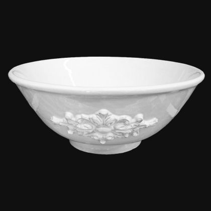 Built-in washbasin Ø 40 White Line, Italian pottery from Caltagirone