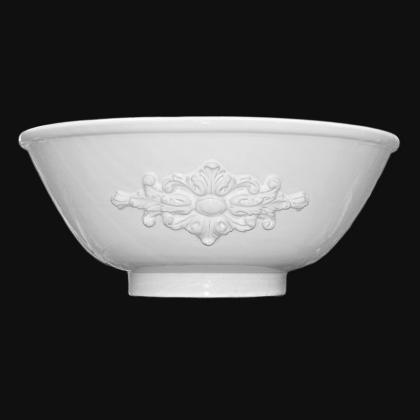 Lavabo da appoggio Ø 40 c/rosone in rilievo white line in Ceramica di Caltagirone