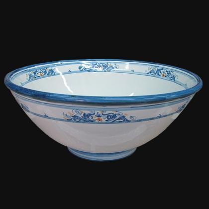 Lavabo da appoggio Ø 40 s. d'arte blu/arancio in Ceramica Artistica di Caltagirone