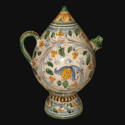 Bummulu Malandrino h 25 antico fogliame in ceramica artistica di Caltagirone