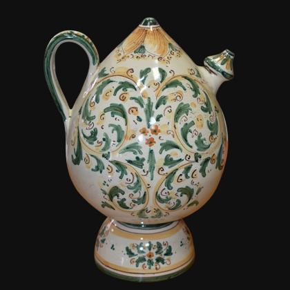 Bummulu Malandrinu h 25 s. d'arte verde/arancio in ceramica artistica di Caltagirone