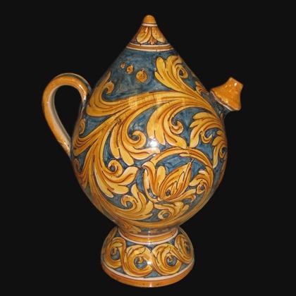 Bummulu Malandrinu h 25 ornato fondo blu in ceramica artistica di Caltagirone