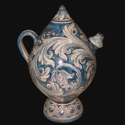 Bummulu Malandrinu h 25 ornato mono blu in ceramica di Caltagirone