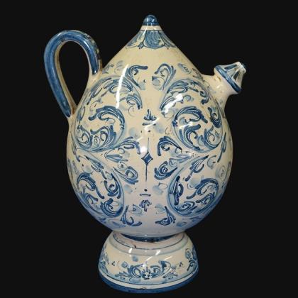Bummulu Malandrinu h 25 s. d'arte mono blu in ceramica di Caltagirone