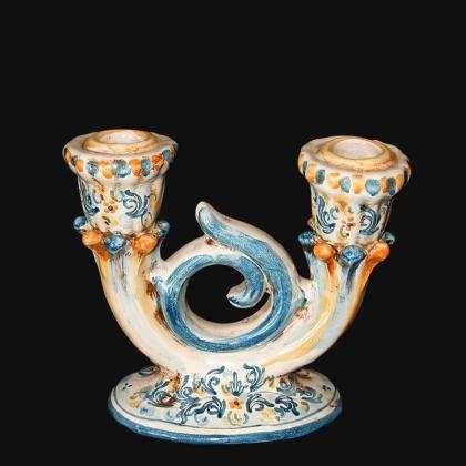 Candeliere 2 fuochi 14x14 s. d'arte blu/arancio