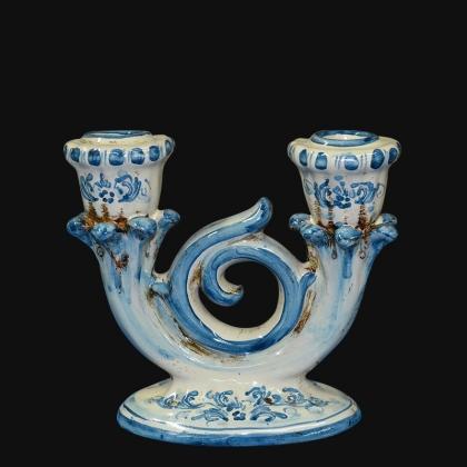 Candeliere 2 fuochi 14x14 s. d'arte mono blu