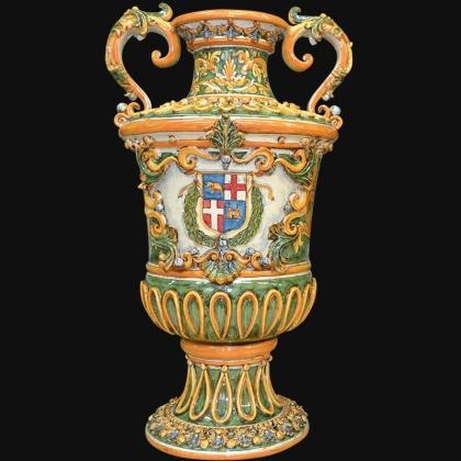 Vaso monumentale h 60 in serie limitata ornato fondo verde c/stemma malta