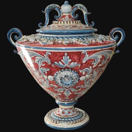 Vaso Ornato Calatino in ceramica artistica di Caltagirone prodotti a mano