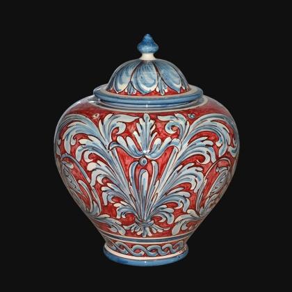 Potiche h 35 ornato blu/bordeaux - Sofia Ceramiche di Caltagirone