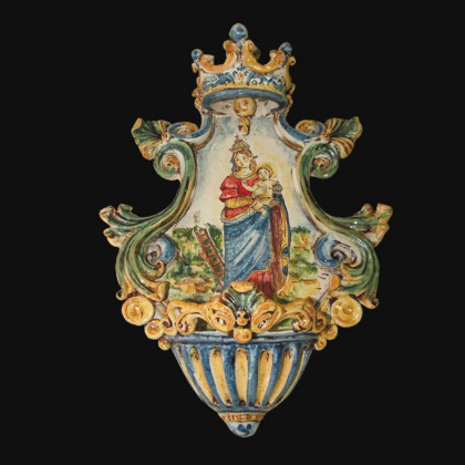 Acquasantiera media appl 19x30 madonna della scala tricolore