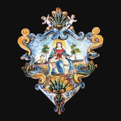 Acquasantiera new appl 28x33 madonna del cardellino tricolore