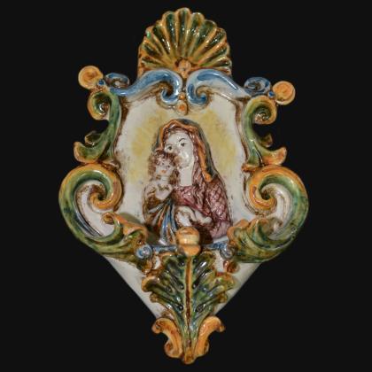 Acquasantiera piccola appl 15x25 madonna in rilievo tricolore