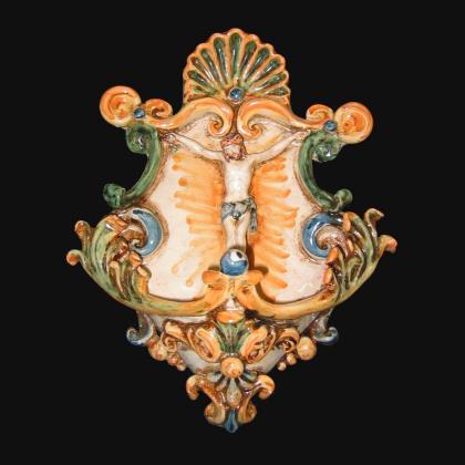 Centrotavola Serie Ornato fondo Rosso in ceramica artigianale di Caltagirone