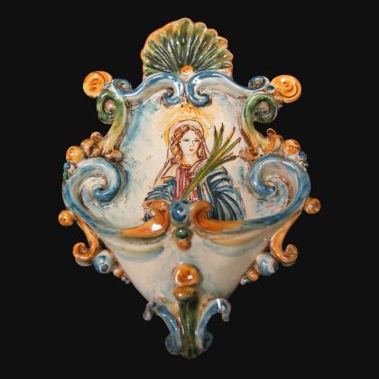 Acquasantiera piccola appl 15x25 santa lucia tricolore