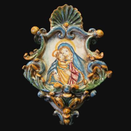 Acquasantiera piccola appl 15x25 madonna con gesù tricolore