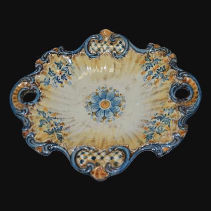 Centrotavola barocco 2° M 38x33 s. d'arte blu/arancio