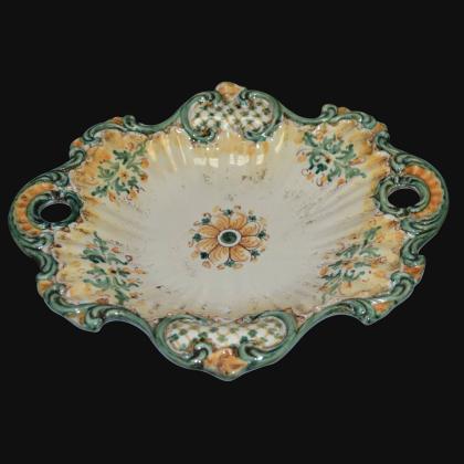 Centrotavola barocco 2° M 38x33 s. d'arte verde/arancio