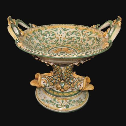 Alzata piede marino Ø 30 s. d'arte verde/arancio - Ceramiche artistiche di Caltagirone