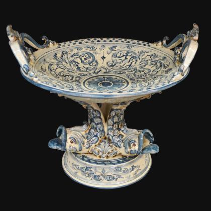 Alzata piede marino Ø 30 s. d'arte mono blu - Ceramiche artistiche di Caltagirone