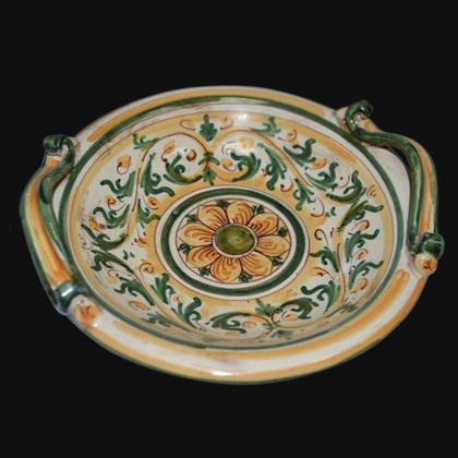 Centrotavola Serie d'arte in Verde e Arancio - Ceramiche artistiche di Caltagirone