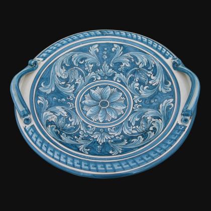 Centrotavola Ø 40 ornato mono blu - Ceramiche artistiche di Caltagirone