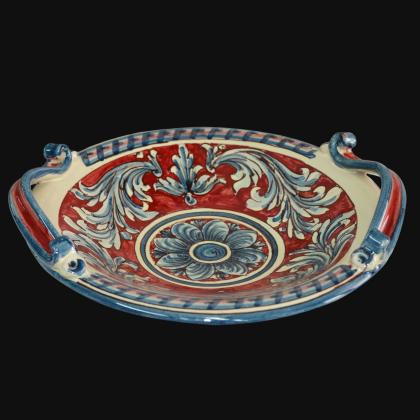 Centrotavola Ornato Blu e Bordeaux - Ceramiche artistiche di Caltagirone