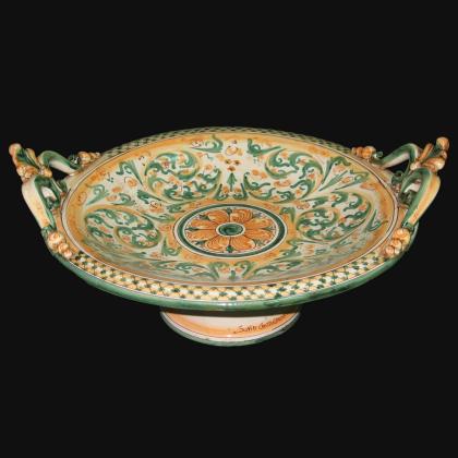 Alzata in ceramica in Verde e Arancio - Ceramiche artistiche Sofia di Caltagirone