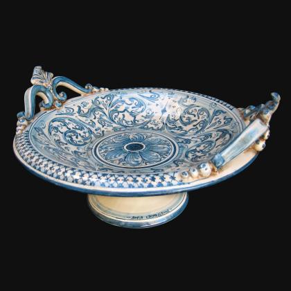 Alzata in ceramica in monocromia di blu - Ceramiche artistiche Sofia di Caltagirone