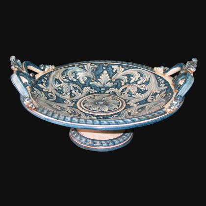 Alzata in ceramica Ornato in monocromia di blu - Ceramiche artistiche Sofia di Caltagirone