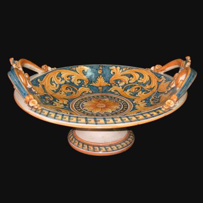 Alzata in ceramica Serie Ornato fondo blu - Ceramiche artistiche Sofia di Caltagirone