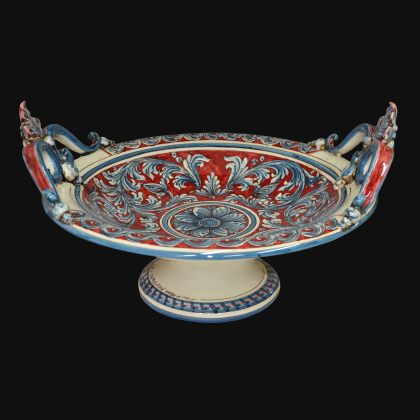 Alzata in ceramica Serie Ornato blu e bordeaux - Ceramiche artistiche Sofia di Caltagirone