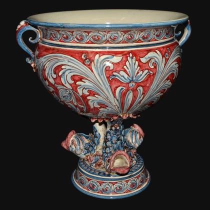 Confettiera piede marino liscia 30x35 ornato blu/bordeaux - Ceramiche artistiche Sofia di Caltagirone